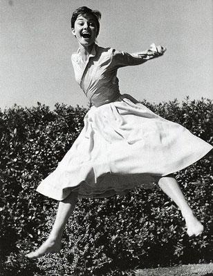 Audrey Hepburn Jumping
