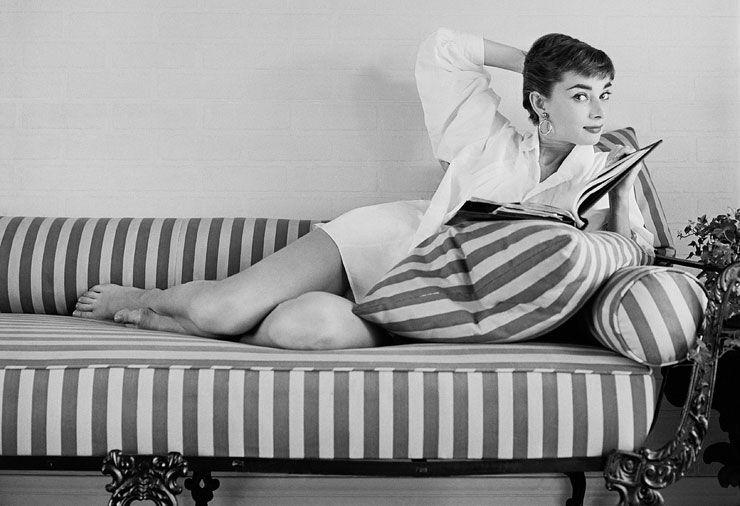 Audrey Hepburn studying