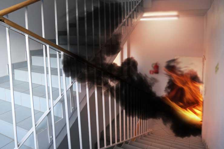 dense smoke in exit corridor